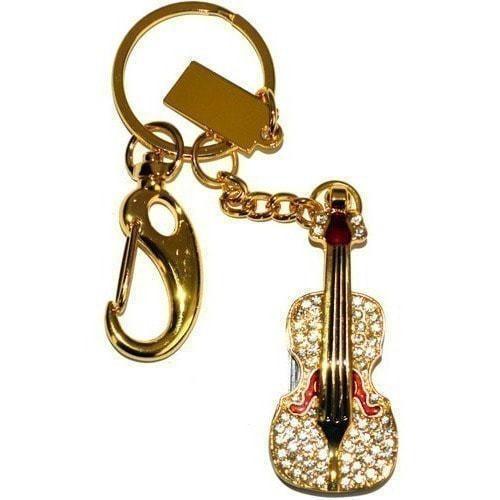 Подарочная металлическая флешка. Скрипка со стразами. Цвет - золото (фото, вид 6)