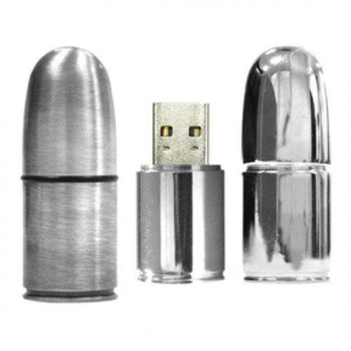 Подарочная металлическая флешка. Патрон пистолетный цвет серебро (фото, вид 1)