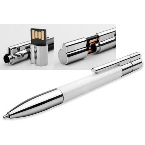 Ручка с флешкой металл/пластик. Цвет белый (в футляре) (фото, вид 1)