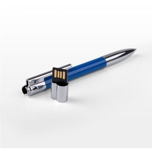 Ручка с флешкой металл/пластик. Цвет синий (в футляре) (фото, вид 1)