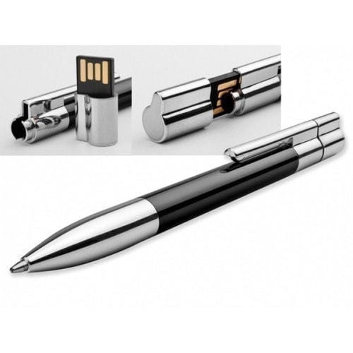 Ручка с флешкой металл/пластик. Цвет черный (в футляре) (фото, вид 1)