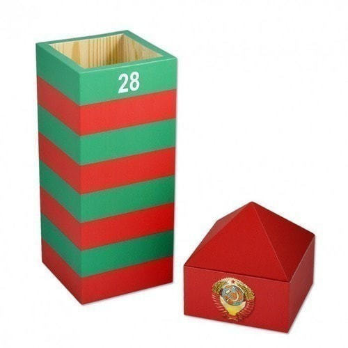 Подарочный деревянный футляр. Пограничный столб СССР (фото, вид 1)