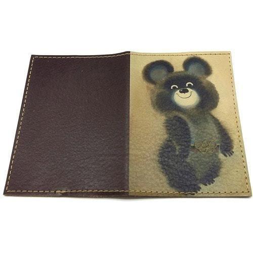 Кожаная обложка на паспорт. Олимпийский Мишка (фото, вид 1)
