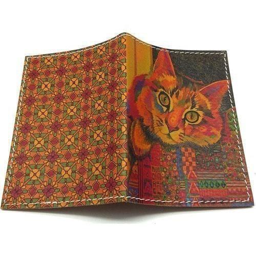 Кожаная обложка на паспорт. Цветной кот (фото, вид 1)
