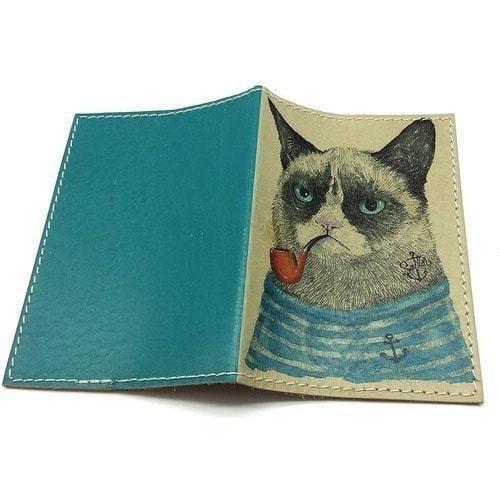 Кожаная обложка на паспорт. Кот-моряк (фото, вид 1)