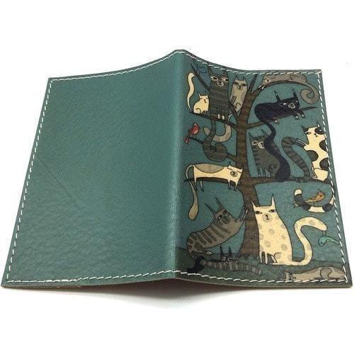 Кожаная обложка на паспорт. Кошки (фото, вид 1)