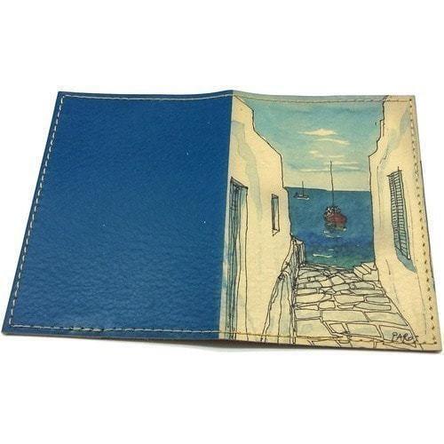 Кожаная обложка на паспорт. У моря (фото, вид 1)