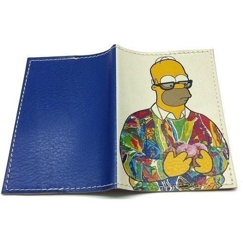 Кожаная обложка на паспорт. Гомер Симпсон с пончиками (фото, вид 1)