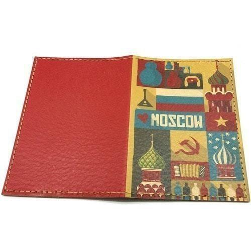 Кожаная обложка на паспорт. Moscow (фото, вид 1)