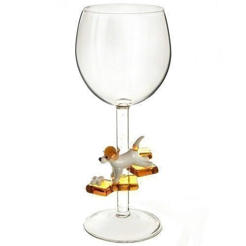 """Бокал для вина из стекла ручной работы. """"Джек Рассел"""" (фото, вид 1)"""