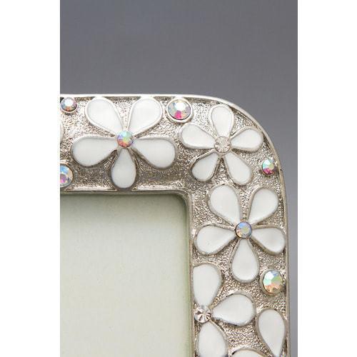 Ювелирная фоторамка с кристаллами. Белые цветы (под фото 13х18 см) (фото, вид 2)
