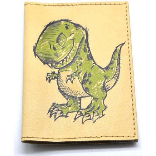 Кожаная обложка на паспорт. Динозаврик (фото, вид 1)