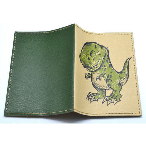 Кожаная обложка на паспорт. Динозаврик (фото, вид 2)