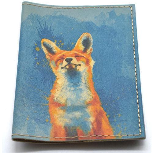 Кожаная обложка на паспорт. Лиса (фото, вид 2)