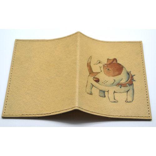 Кожаная обложка на паспорт. Собачка (фото, вид 1)