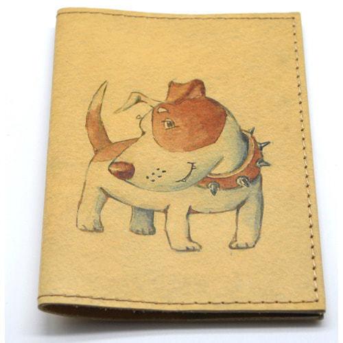 Кожаная обложка на паспорт. Собачка (фото, вид 2)