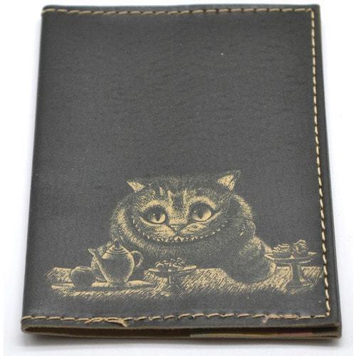 Кожаная обложка на паспорт. Чеширский кот (фото, вид 2)