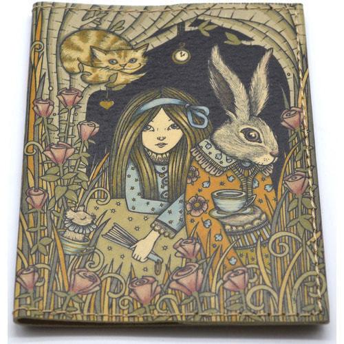 Кожаная обложка на паспорт. Алиса в стране чудес (фото, вид 2)