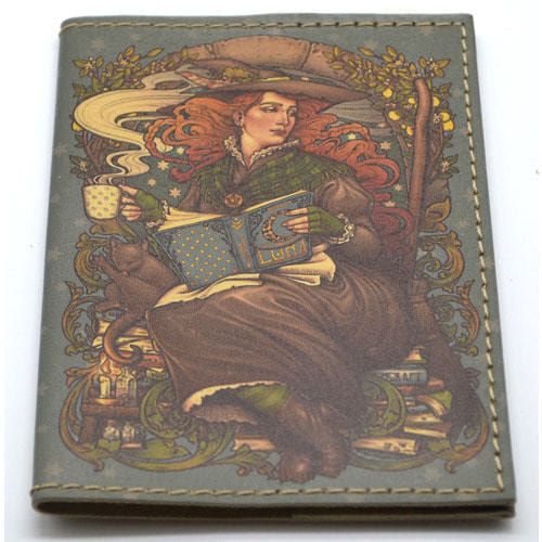 Кожаная обложка на паспорт. Девушка с книгами (фото, вид 2)
