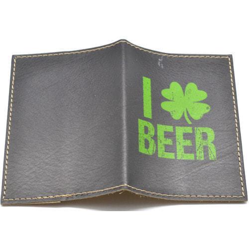 Кожаная обложка на паспорт. Я люблю пиво (фото, вид 1)