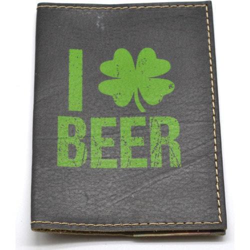 Кожаная обложка на паспорт. Я люблю пиво (фото, вид 2)