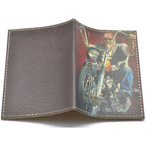 Кожаная обложка на паспорт. Байкер (фото, вид 1)