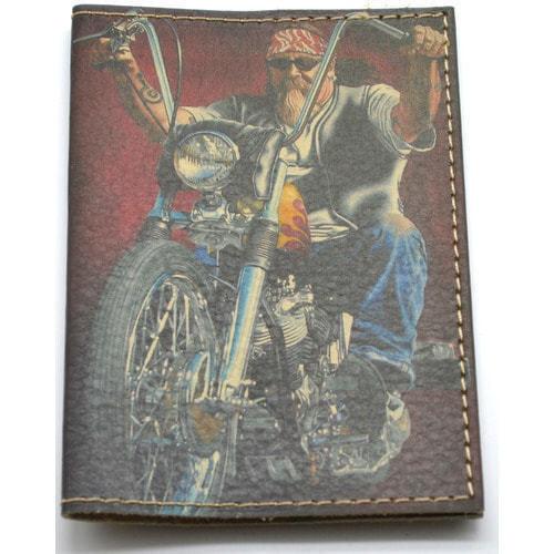 Кожаная обложка на паспорт. Байкер (фото, вид 2)