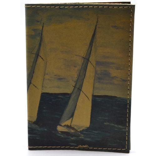 Кожаная обложка на паспорт. Яхты (фото, вид 1)