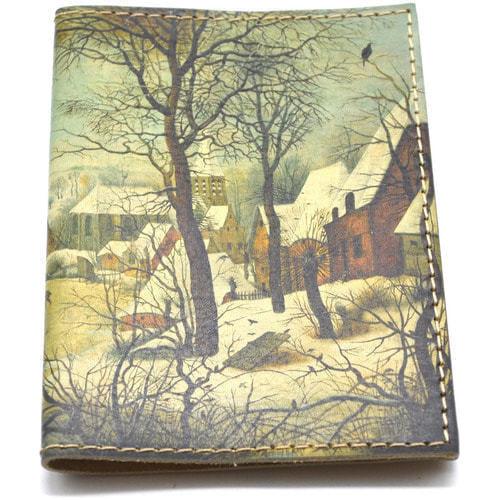 Кожаная обложка на паспорт. Зимний пейзаж (фото, вид 2)