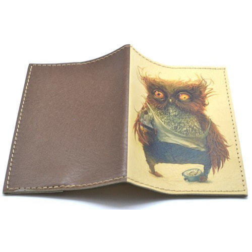 Кожаная обложка на паспорт. Филин (фото, вид 1)