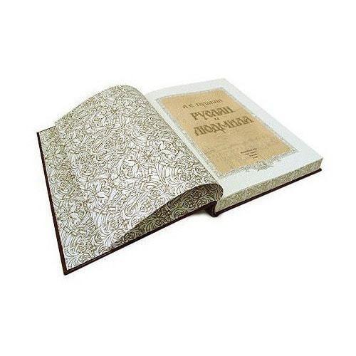 Подарочная книга в кожаном переплете. Александр Пушкин. Руслан и Людмила (фото, вид 7)