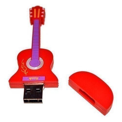 Подарочная флешка. Гитара (цвет красный) (фото, вид 1)