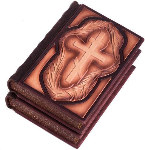 Подарочная книга в кожаном переплете. Библия. Иллюстрированный Ветхий Завет в 2-х томах (в коробе) (фото, вид 1)