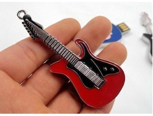 Подарочная металлическая флешка. Гитара красно-черная (фото, вид 1)