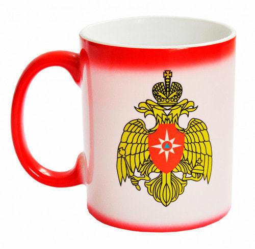 Подарочная керамическая кружка-хамелеон. МЧС России (фото, вид 1)