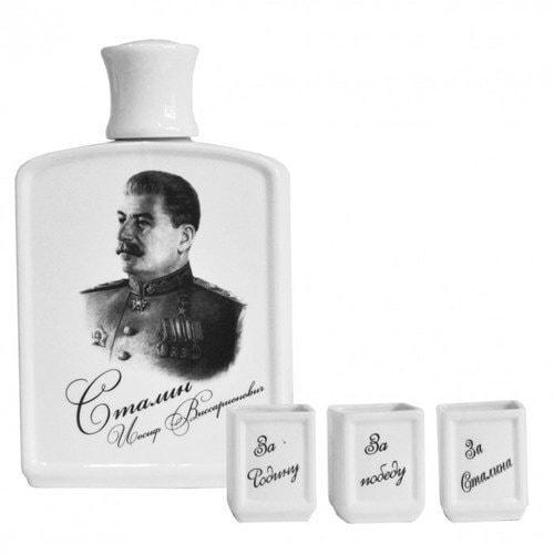 Подарочный набор с фарфоровым штофом. История России (штоф Иосиф Сталин + 3 фарфоровые стопки) (фото, вид 2)