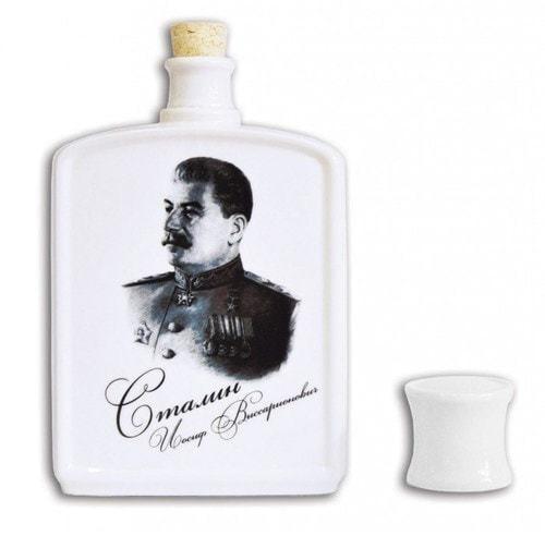 Подарочный набор с фарфоровым штофом. Военный (штоф И.В.Сталин) (фото, вид 1)