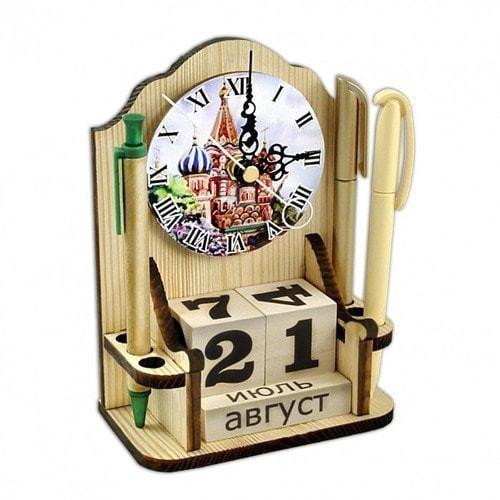"""Вечный календарь """"Московское время"""" с карандашницей и часами (фото, вид 2)"""
