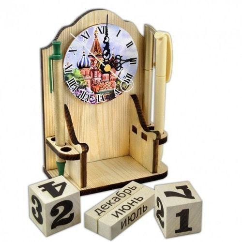 """Вечный календарь """"Московское время"""" с карандашницей и часами (фото, вид 3)"""
