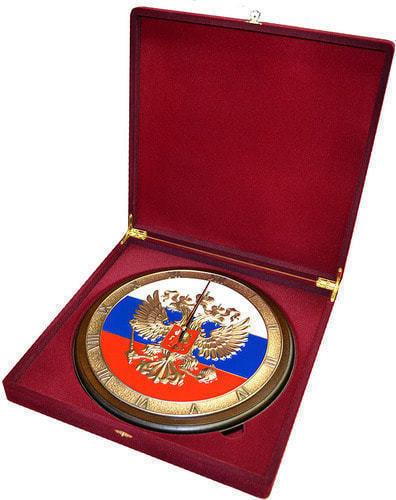 """Настенные часы """"Герб России"""" в подарочной упаковке (фото, вид 1)"""