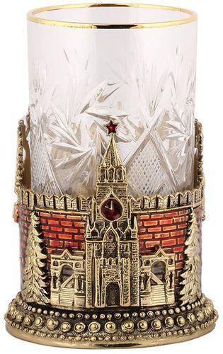 Подарочный набор c 2-мя подстаканниками в деревянной шкатулке (4 предмета). Герб России и Спасская Башня (фото, вид 3)