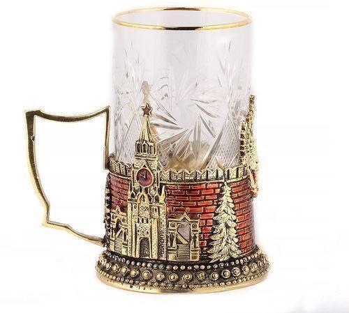 Подарочный набор c 2-мя подстаканниками в деревянной шкатулке (4 предмета). Герб России и Спасская Башня (фото, вид 7)