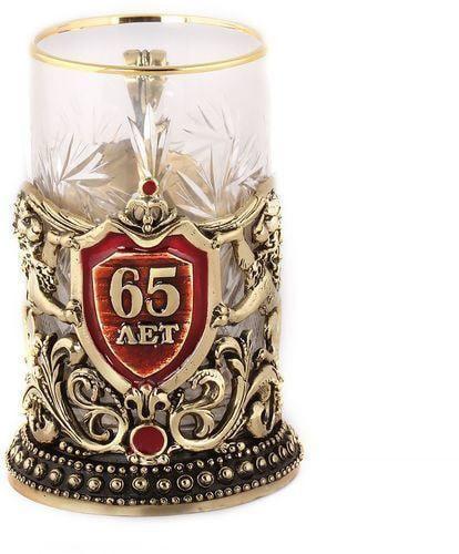 Подарочный набор c 2-мя подстаканниками в деревянной шкатулке (4 предмета). Юбилей 65 лет и Мудрый руководитель (фото, вид 5)