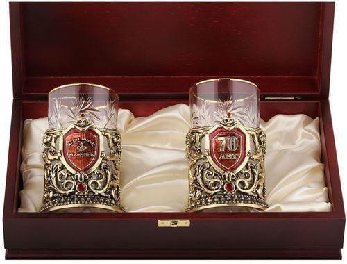Подарочный набор c 2-мя подстаканниками в деревянной шкатулке (4 предмета). Юбилей 70 лет и Настоящий мужчина (фото, вид 1)