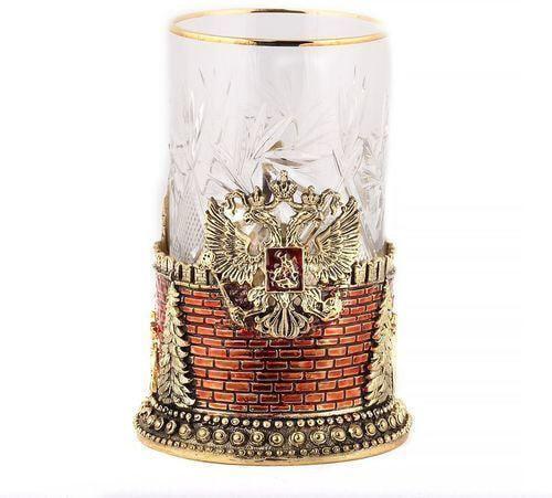 Подарочный набор c 2-мя подстаканниками в деревянной шкатулке (4 предмета). Герб России и Спасская Башня (фото, вид 2)