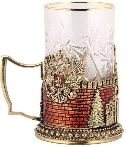 Подарочный набор c 2-мя подстаканниками в деревянной шкатулке (4 предмета). Герб России и Спасская Башня (фото, вид 4)