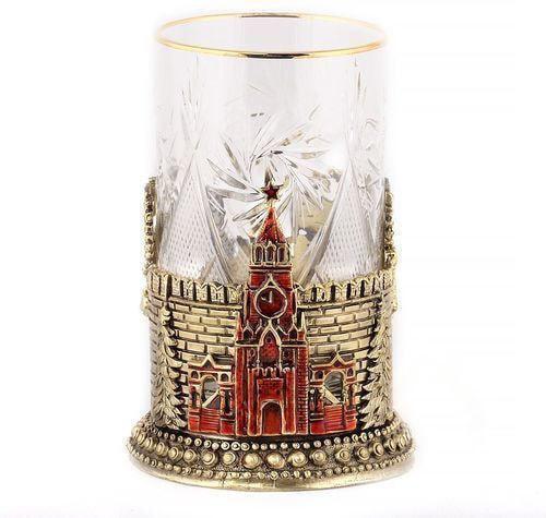 Подарочный набор c 2-мя подстаканниками в деревянной шкатулке (4 предмета). Герб России и Спасская Башня (фото, вид 5)