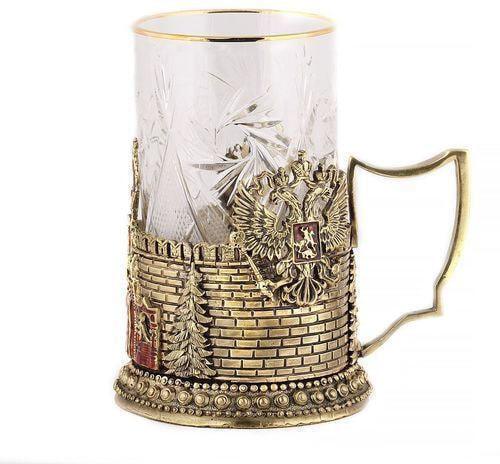 Подарочный набор c 2-мя подстаканниками в деревянной шкатулке (4 предмета). Герб России и Спасская Башня (фото, вид 6)