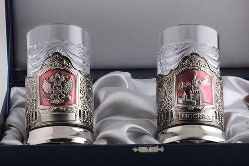 Подарочный набор c 2-мя подстаканниками в шкатулке (6 предметов). Герб РФ и Спасская башня (фото, вид 1)