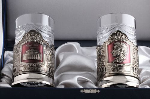 Подарочный набор c 2-мя подстаканниками в шкатулке (6 предметов). Большой Театр и Пушкин А.С. (фото, вид 1)
